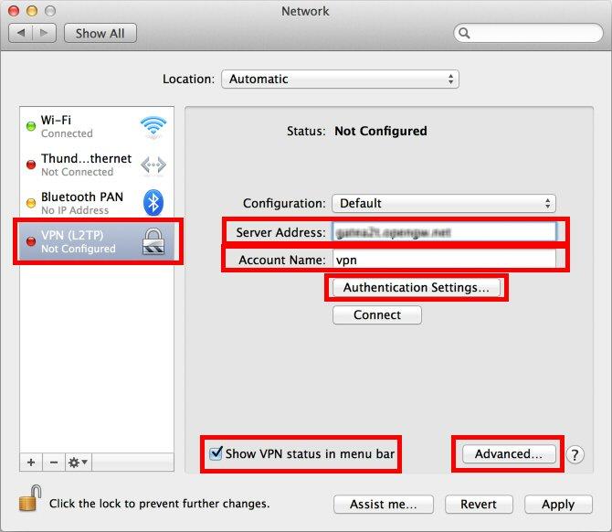 Configuring Rocket VPN for MacOS X L2TP / IPsec